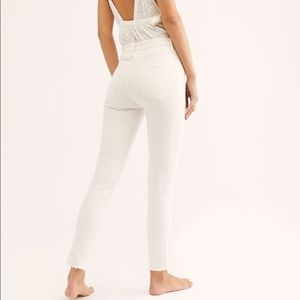 Free People Hi Rise White Denim Jeans Raw Hem